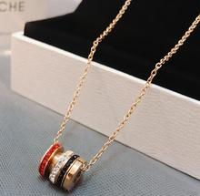 Round Pendant Necklace Titanium Steel Chain Necklace Inlaid Crystal Fashion Trendy Women Jewelry Birthday Gift retro gem inlaid round pendant necklace for women