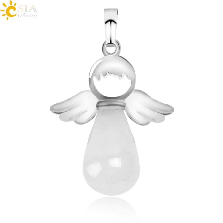 CSJA, натуральные камни, ангелы, крылья, подвеска для ожерелья, розовый кварц, Ониксовые подвески, серебряный цвет, капля воды, Женские Ювелирные изделия, подарок E949 - Окраска металла: White Crystal
