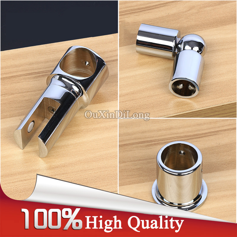 HOT 4PCS Brass Shower Bath Universal Joint Connector/Hanging Clamps Clip/Flange Base Shower Room Accessories for 19/22/25mm Pipe