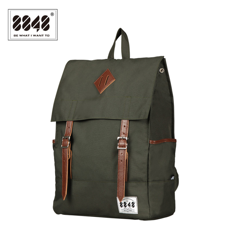 8848 Men Backpacks Amy Green Casual Bags 100% Polyester Free Shipping Knapsack Solid Simple Pattern Laptop School Bag D002-7 bag