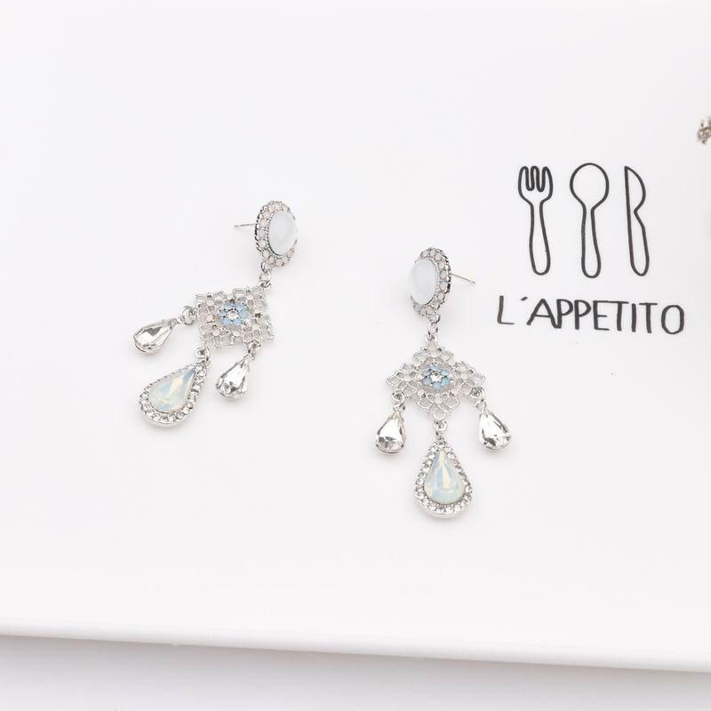 MENGJIQIAO New Baroque Style Opal Stone Water Drop Crystal Tassel Earrings For Women Vintage Statement Flower Long Pendientes 5