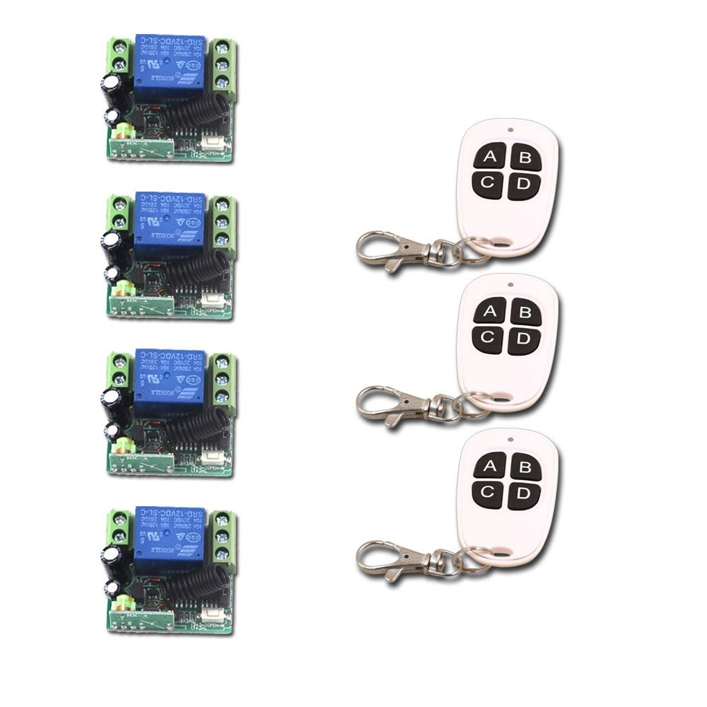 Remote Control Switch 12V Mini 10A Relay Receiver Remote Control Plug Wireless Remote ON/OFF Transmitter Receiver ac85v 250v wireless remote control switch relay receiver remote on off plug for led lamp light 315mhz 433mhz