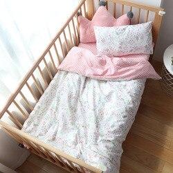 Baby Bettwäsche Set 5 Pcs Cartoon Woven Baumwolle Bettwäsche Für Kinder Krippe Bettwäsche Mit Füllstoff Für Jungen Mädchen Baby kindergarten Decor