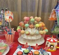Assemblable Wit 3 Tiers Snack Server 21 stks Cupcake Stand, 42 stks pop Cake Stands, Lollipop Houder Verjaardag Cake Rack