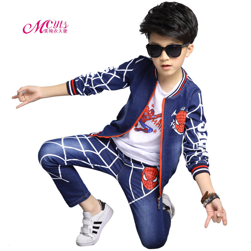 Children Spiderman Clothing Sets Spring Fall Boys Cowboy Sport Suits Spring Autumn Kids Spider - Man Suit 3 Piece Boys Tracksuit yodina gold velvet boys clothing set autumn winter children thicken sport suit boys clothes sets school kids fashion tracksuit
