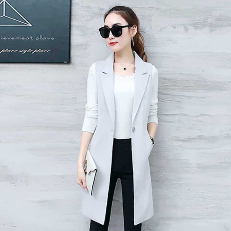 Estilos largos gris negro solo botón señoras Blazers mujer 2019 primavera otoño mujeres traje chaqueta mujer Oficina Tops abrigos