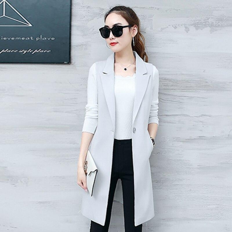 Long Styles Gray Black Single Button Ladies Blazers Women 2019 Spring Autumn Women Suit Jacket Blazer Femme Office Tops Coats