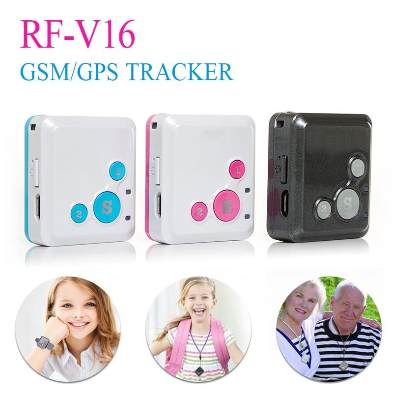 Two way Talk Mini GSM GPRS GPS Tracker SOS Communicator for Kids Child Elderly Personal lifetime web APP Tracking RF V16