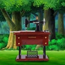 1Pc Mini Vintage Lockwork Sewing Machine Music Box Kid Toy Treadle Sartorius Toys Retro Birthday Gift Home Decor