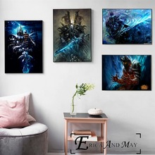 цена на Lich King WOW Game Artwork Posters And Prints Canvas Art Decorative Wall Pictures For Living Room Home Decor Unframed Painting