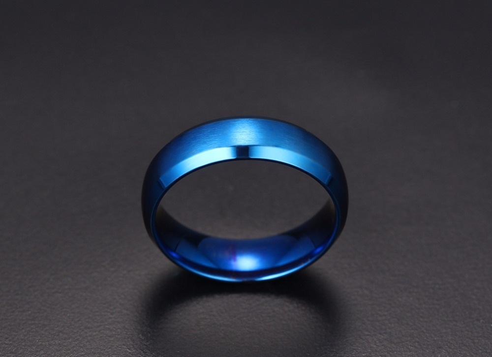 Mens Rings 6MM Wedding Band Stainless Steel Ring Men Jewelry Engagement Ring Comfort Fit Beveled Edges Black Blue Gold-color Decoration Accessories anillos masculino 12