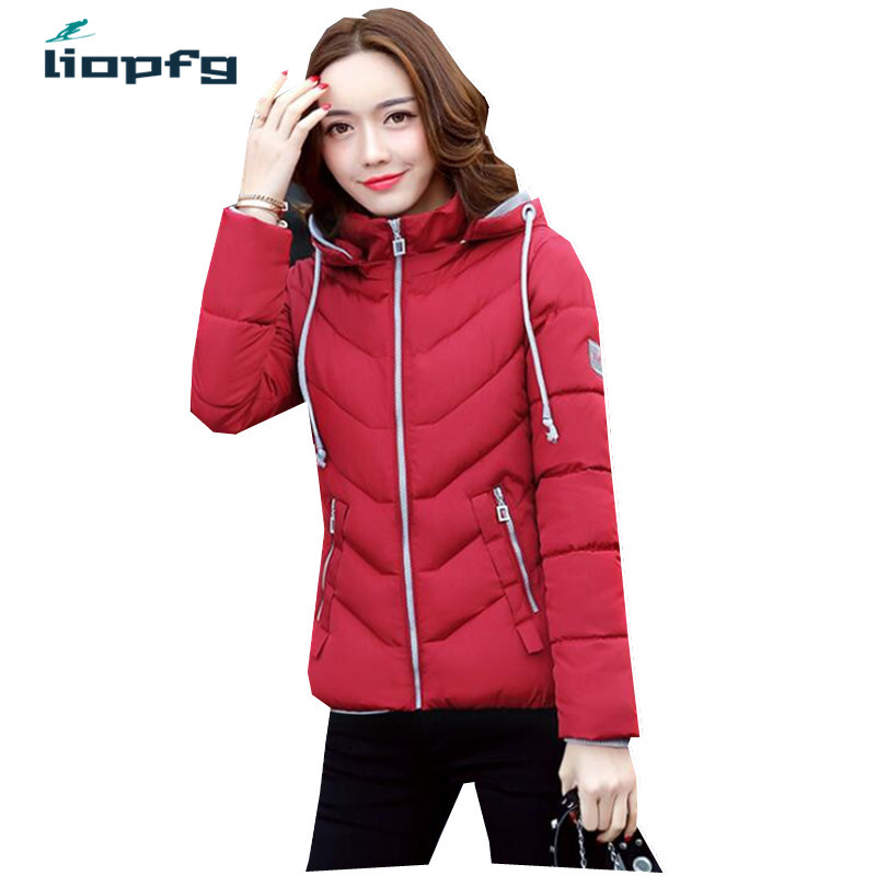 2017 Winter New Short Paragraph Cotton Ms Brand High Quality Fabric Red Cotton Coat Removable Hat