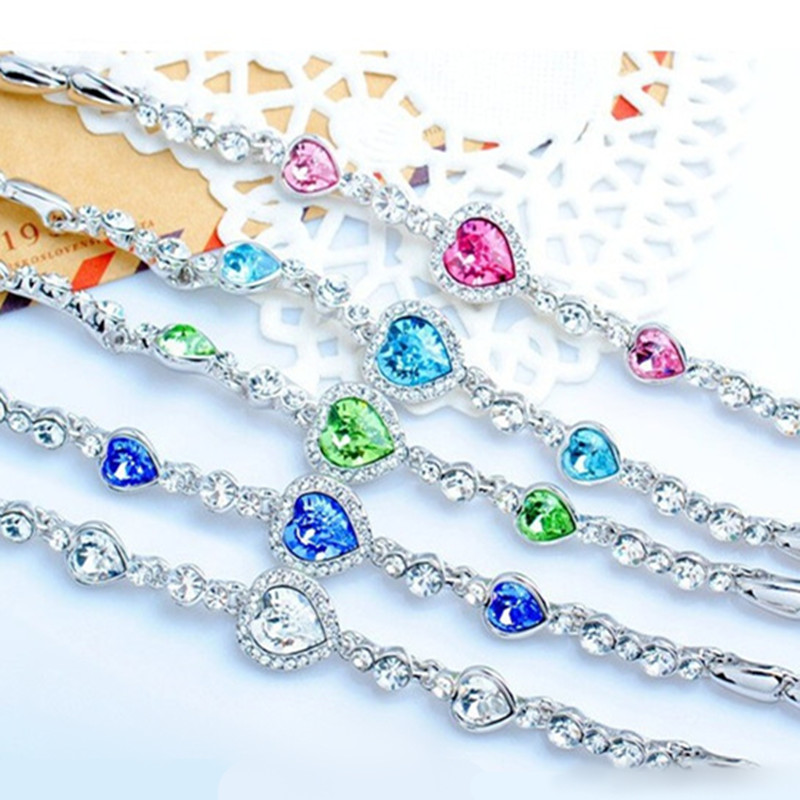 Fashion Hot Female Heart Crystal Bracelets For Women Girls Ocean Blue Sliver Plated Crystal Heart Bracelet Wedding Jewelry Gift