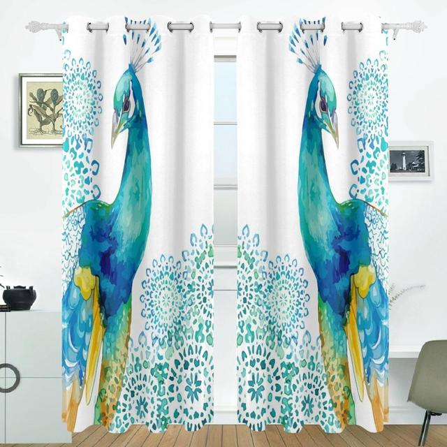 Peacock Feathers Flower Curtains Drapes Panels Darkening Blackout