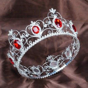 Red Semi-precious Stone Tiara Diadem Full Circle Round Crown Clear Rhinestone Crystal Beauty Pageant Party Hair Accessories