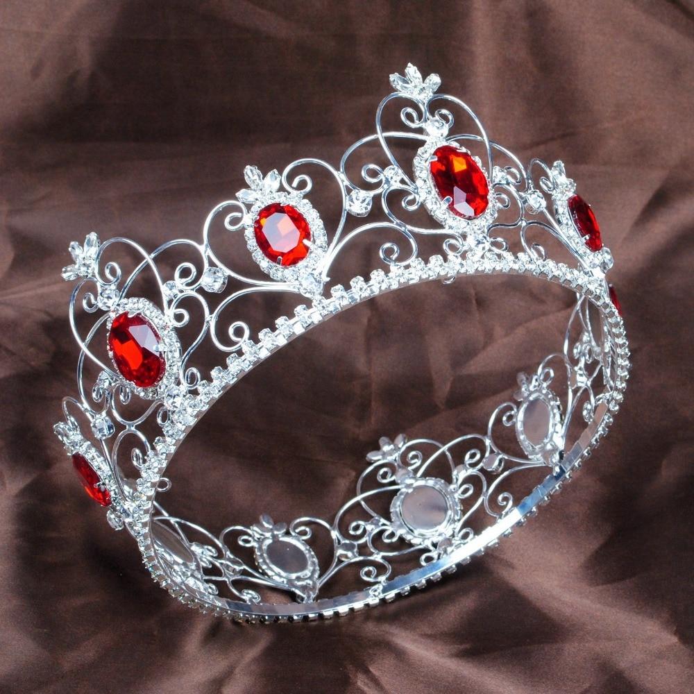 Crowns full circle round tiaras rhinestones crystal wedding bridal - Red Semi Precious Stone Tiara Diadem Full Circle Round Crown Clear Rhinestone Crystal Beauty Pageant