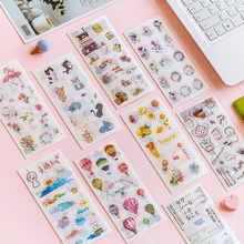 6pcs/lot watercolor series sticker pack Handbook Album DIY Decorative Life Stickers  Scrapbooking label Sticker Stationery