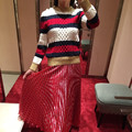 Famosa Marca europea 2016 Mujeres Suéteres de Rayas Trenzado Broche de Perlas de Punto Casual Suéteres Femeninos SL0968