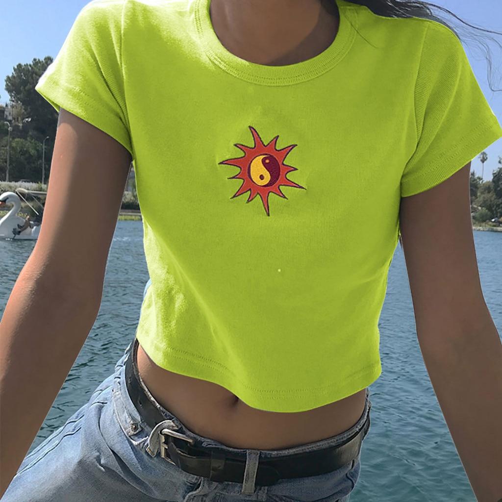 Fashion Women Short Sleeve Little Sun Pattern Embroidery Short vest top Women summer fashion Round neck short sleeve new t-shirt