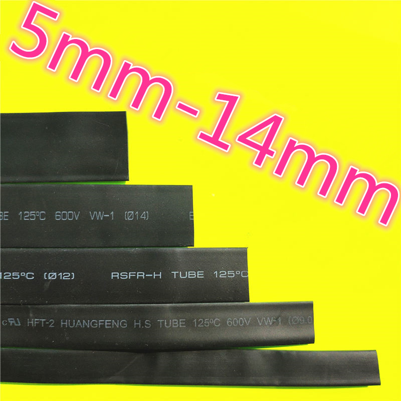 1meter 2:1 Black 5mm 5.5mm 6mm 7mm 8mm 9mm 10mm 11mm 12mm 13mm 14mm Heat Shrink Heatshrink Tubing Tube Wire Dropshipping