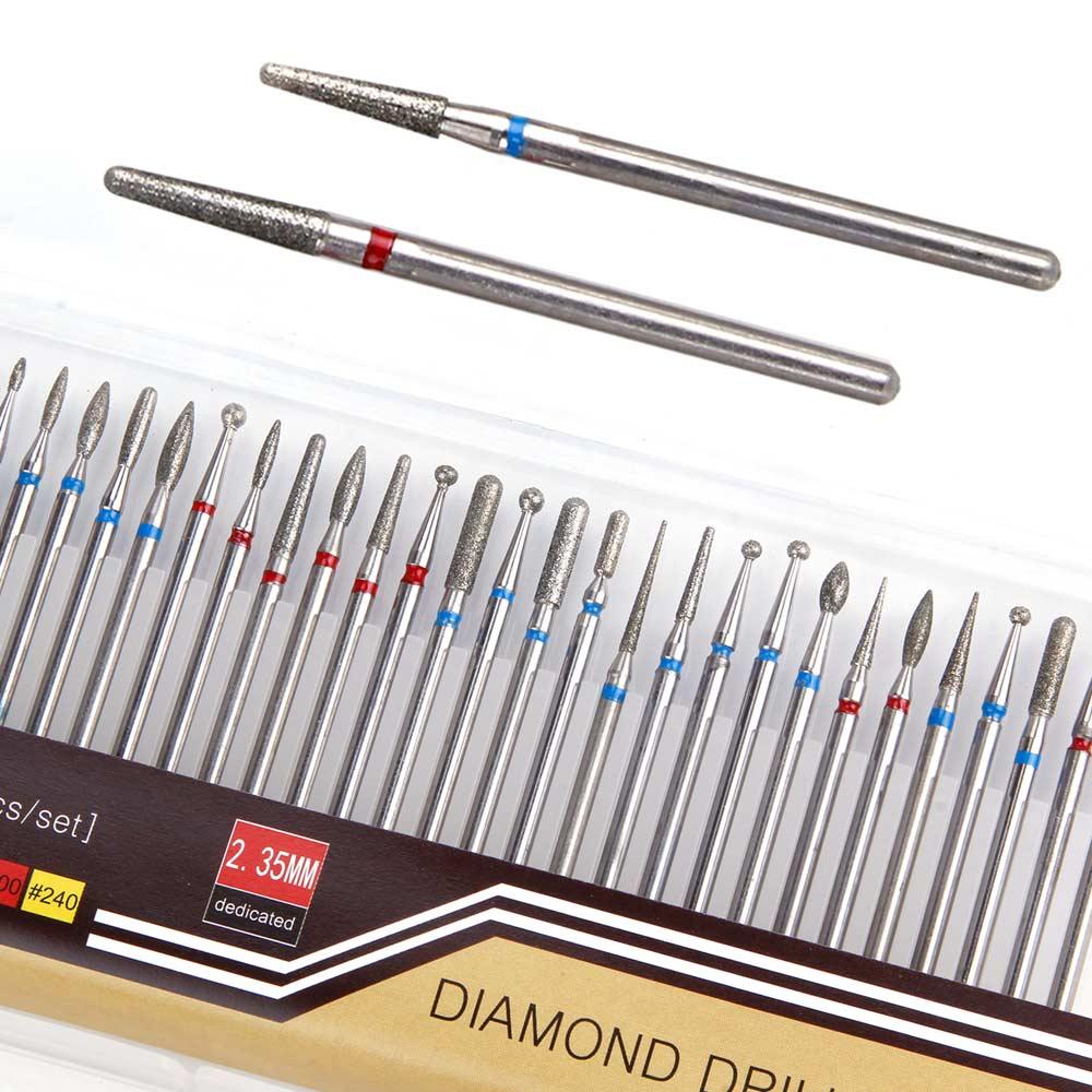 30 pçs/lote Cortadores de Diamante para Manciure Aparelho de Moagem Máquina Elétrica Prego Broca Burr Rotary Ferramentas Lixas de Unha Cutícula