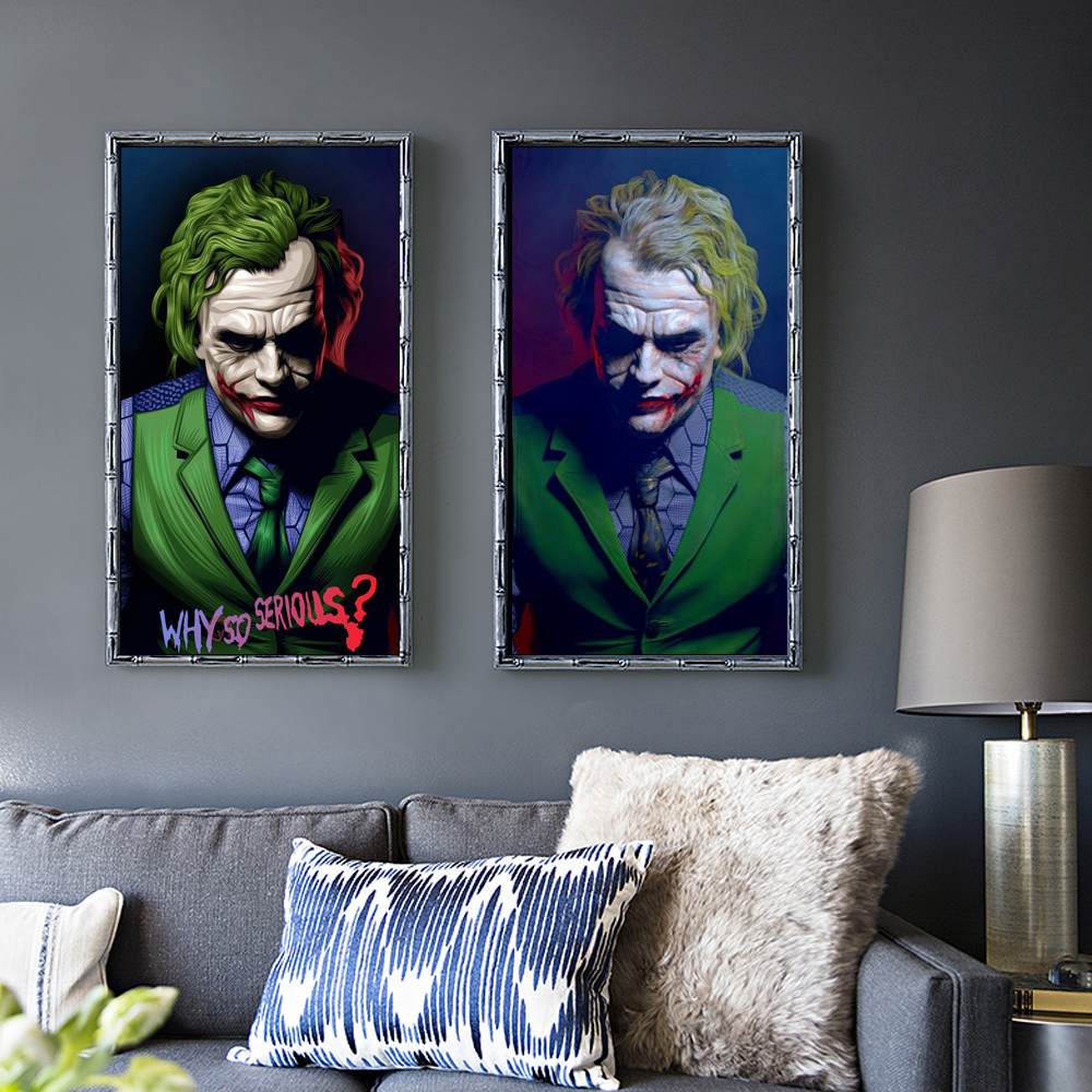 Joker 2019 Joaquin Phoenix Heath Ledger DC Movie Comics Wall Art Painting Print On Canvas Poster Pictures Home Deco