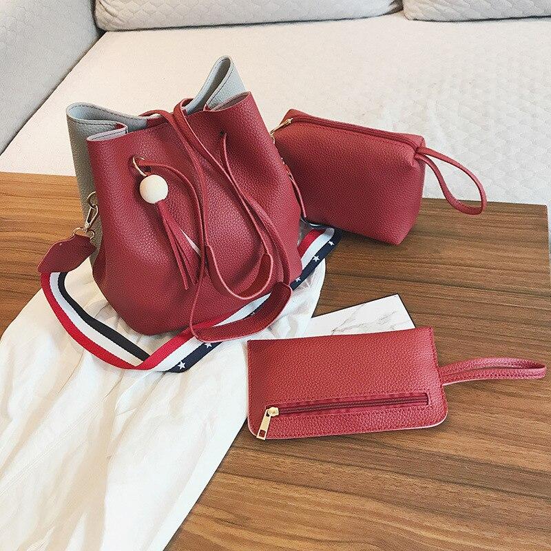 Hacmpoehue Luxury Women Handbag 3pcs/Set Composite Large Capacity Messenger Bag Female Pu Leather Shoulder Handbag Lady Tote Bag