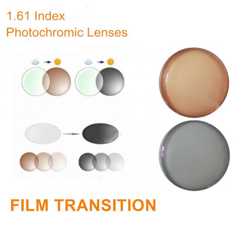 1.61 Index Ordonnance Verres Photochromiques Transition Lunettes pour la Myopie/Hypermétropie/Presbytie Transit Gris Brun Lentilles