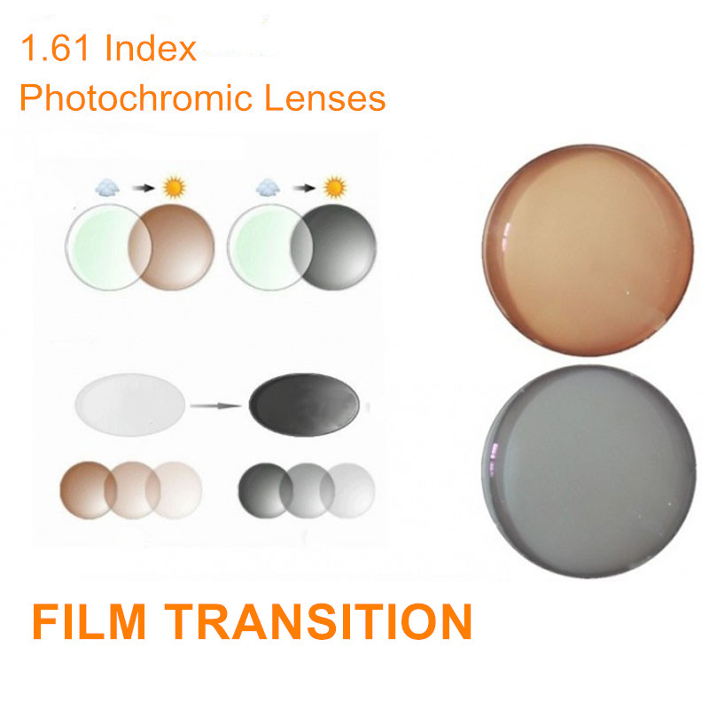 1.61 Indeks Preskripsi Photochromic Lenses Transition Glasses Glasses untuk Myopia / Hyperopia / Presbyopia Transit Grey Brown Lenses