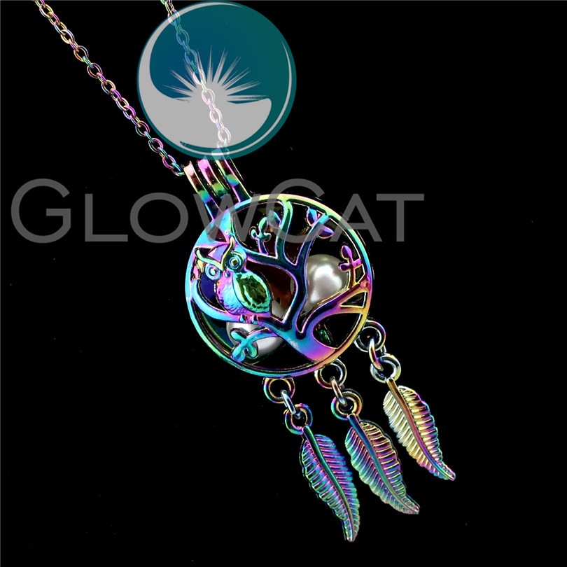 R-C711 Colorful Dream Catcher Owl Bird Beads Cage Pendant Perfume Diffuser Aromatherapy Pearl Cage Locket Necklace Women Gift