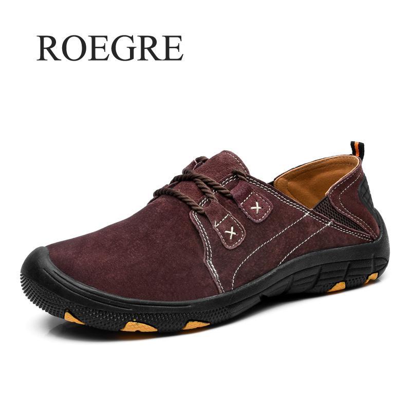 Split Main En Mocassins kaki 2018 Marron Nouvelle Confortable Roegre gris Appartements Qualité Casual Hommes Cuir Chaussures wpfgqaHC