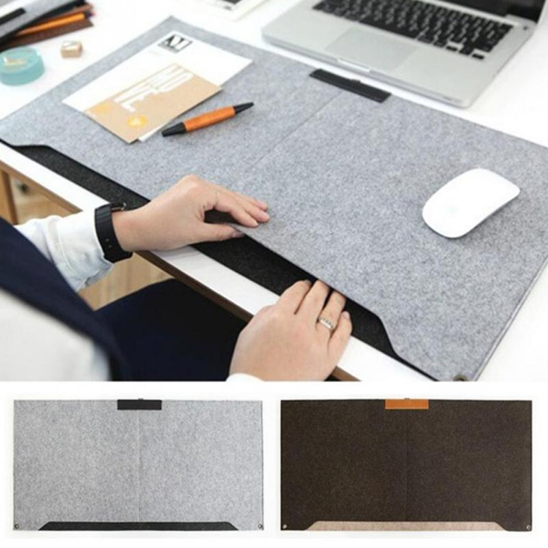 Large Size Felt Sleeve Laptop Desk Mat Durable Modern Table Office Mouse Pad Pen Holder Gray Brown In Pads From Computer On