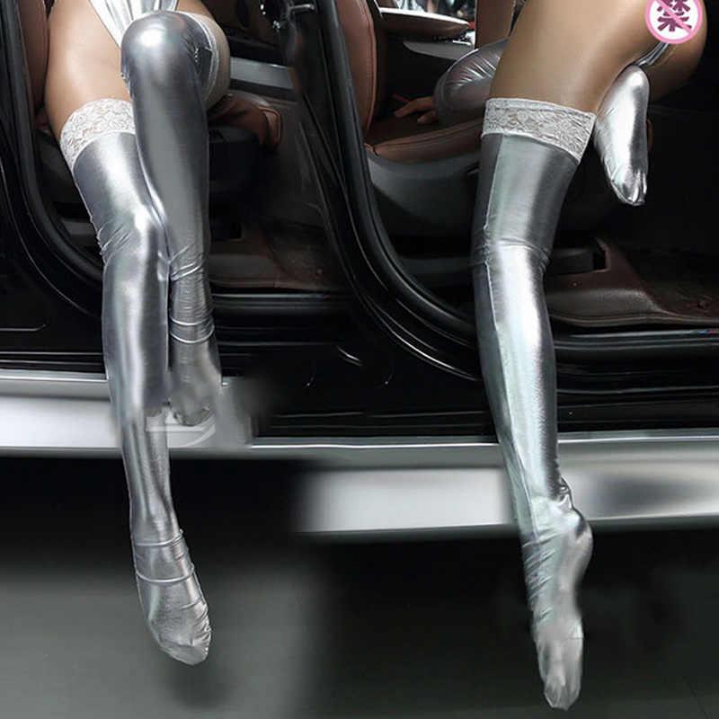 2016 เซ็กซี่ผู้หญิงเลดี้ Faux หนังต้นขาถุงน่องลูกไม้ Stay - Up Clubwear ชุดถุงน่อง XRQ88