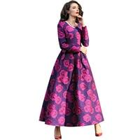2016 Plus Size XXL XXXL Long Sleeve Women Long Dress Spring Elegant Flowers Lace Pleated Maxi