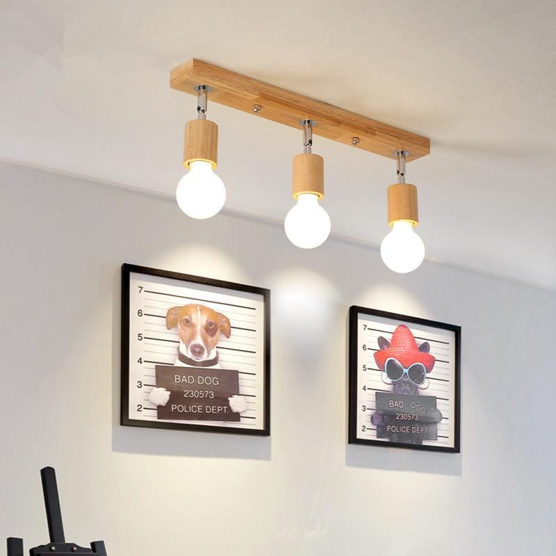 Nordic Wood Art Ceiling Chandelier Living Room Clothing Store Hall Balcony Lamp Corridor Aisle Chandelier  Home Lights Holder
