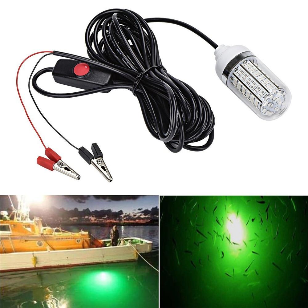12 V de la luz de la pesca 108 piezas 2835 LED bajo el agua pesca luz señuelos buscador de peces lámpara atrae a langostinos calamar Krill (4 colores)