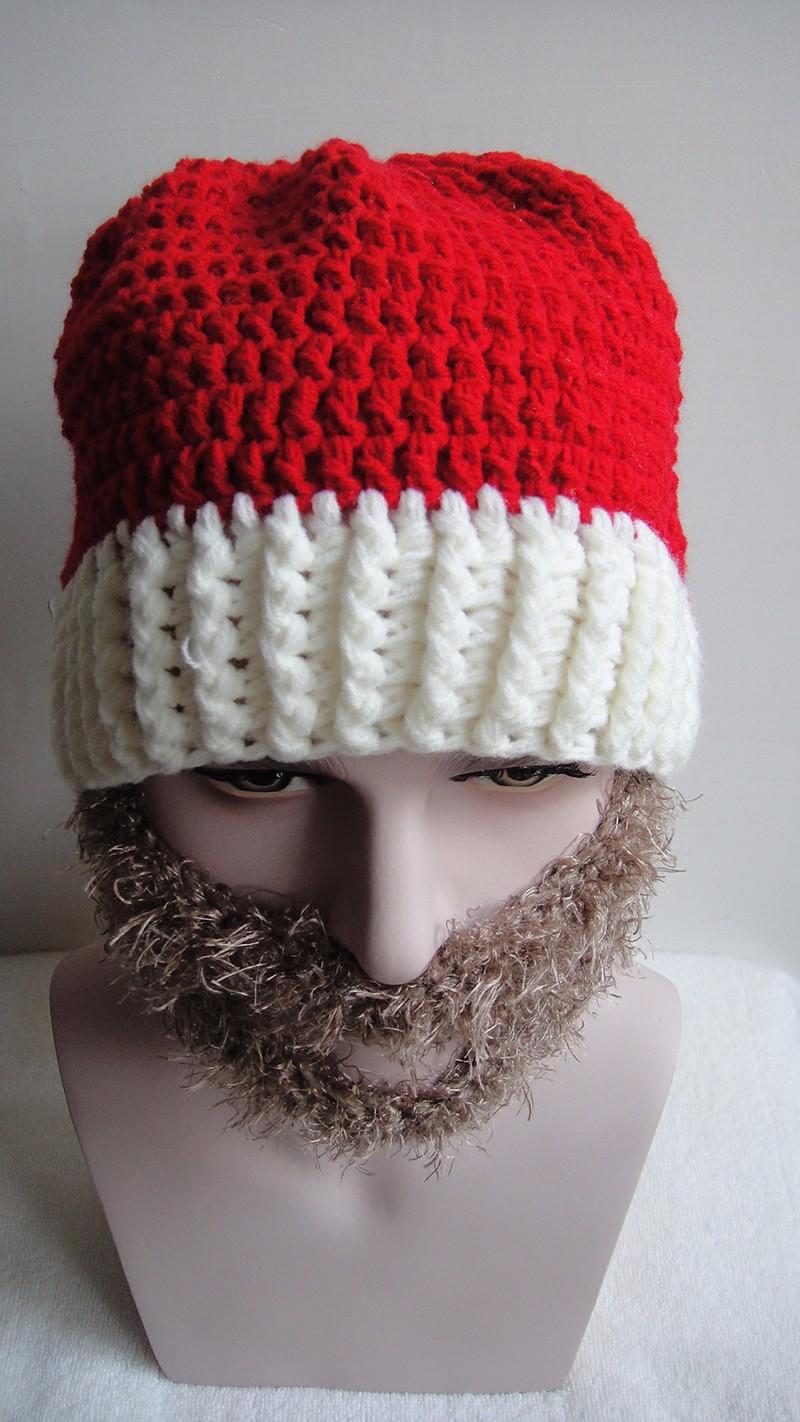 2016 Adult Crochet Knit Beanie Santa Claus Handmade Knitted Hat Hot Fashion Bearded Cap Women Men Christmas Gifts Accessories (8)