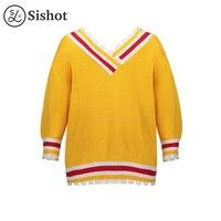 Sishot Women Casual Knitwear 2017 Autumn Winter Yellow Color Block V Neck Long Sleeve Stripes Slim