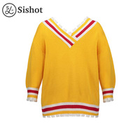 Sishot Women Casual Knitwear 2017 Autumn Winter Yellow Color Block V Neck Long Sleeve Stripes Slim