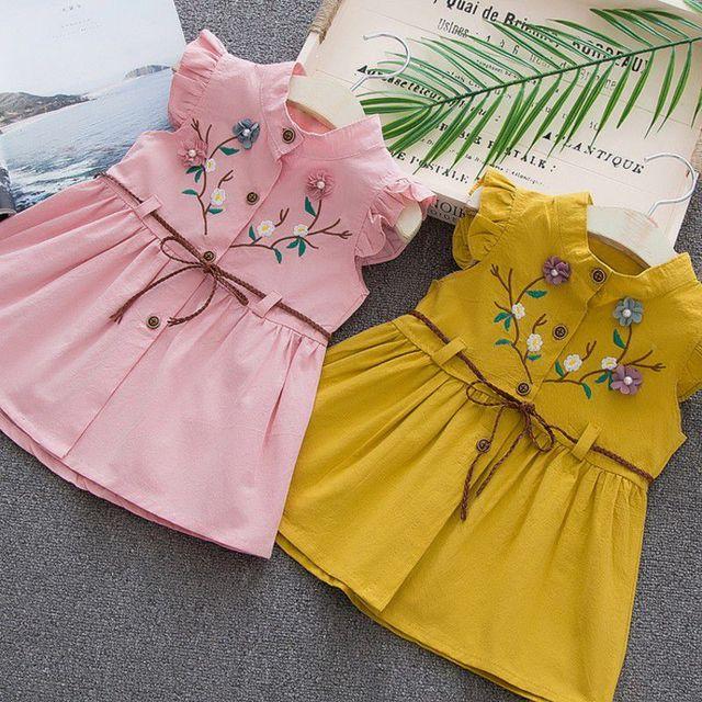 WEIXINBUY Mùa Hè công chúa váy Cotton bé cô gái thêu đào vest váy 1-4Y Chất Lượng Cao bé cô gái trẻ sơ sinh ăn mặc