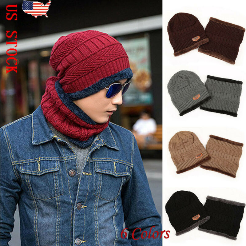 Fashion Women Men Knitted Scarf And Beanie Pompom Hat Set Warm Winter Thick Winter Hats For Man