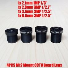 4PCS/Lot Mixed 3MP 2.1mm 2.8mm 3.6mm 6mm CCTV Fixed Iris IR Board Lens M12 MTV Interface Mount for 960P 1080P Analog IP Camera