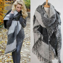 Meihuida 2019 Fashion Large Scarves Women Long Cashmere Winter Wool Blend Soft Warm Plaid Scarf Wrap Shawl