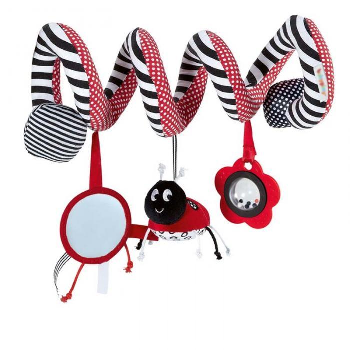New Funny Toys Hanging Stripe Flower Ladybug Glass Mirror Shape Cute Plush Activity Crib Bell Stroller Baby Soft Toys FL 2