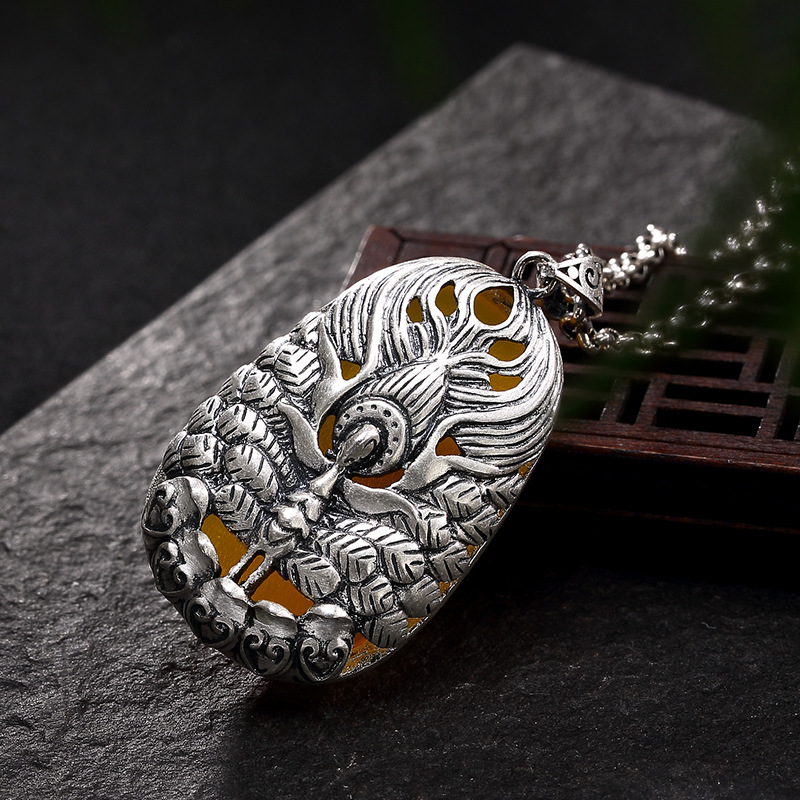 S990 fine silver phoenix chalcedony agate silver restoring ancient ways joker ms long sweater wholesale chain pendant 2018 top fashion sale agate s990 peacock peacock cloud chalcedony agate long silver chain sweater pendant wholesale