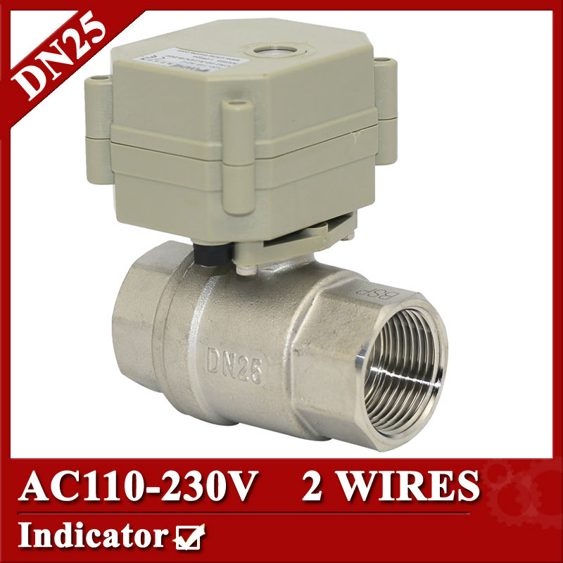 ФОТО 1 inch motorized ball valve 2 wires, DN25 stainless steel Electric ball valve, AC110V-230V electric control valve