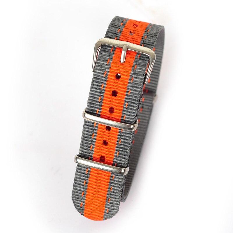 88f55a2435c Varejo 20mm cinza orange cinza tecido nato relógio do esporte banda  correias acessórios bandas de nylon pulseira de aço fivela de cinto