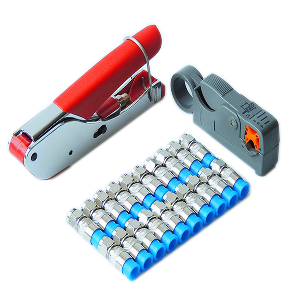 New Multitool Wire Stripping Squeezing Pliers Coaxial Cable Cold Press Clamp RG59 RG6 Cable TV Crimping Tool Set With 20 F Heads