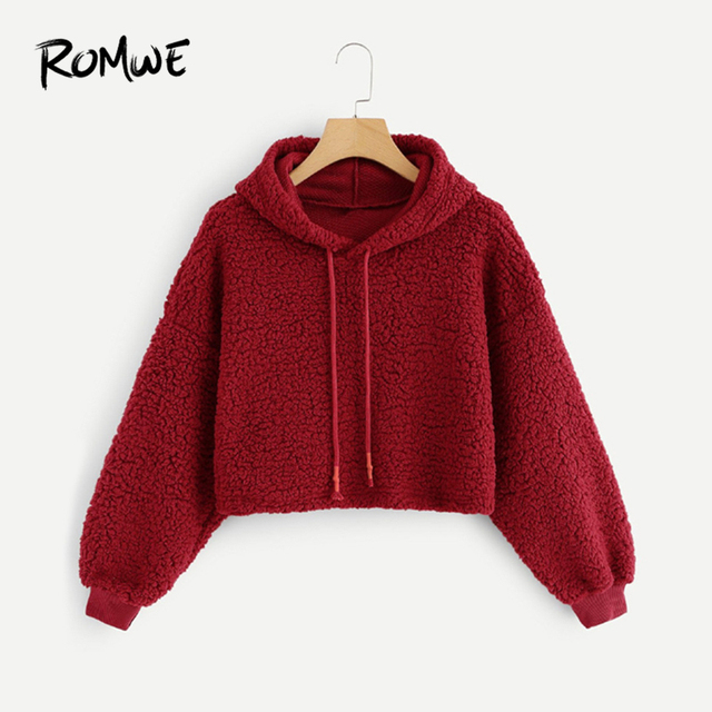 d963bca24bf ROMWE Red Solid Drawstring Hoodie Crop Sweatshirt Women Casual Plain Autumn  Hooded Long Sleeve Clothing Pullovers