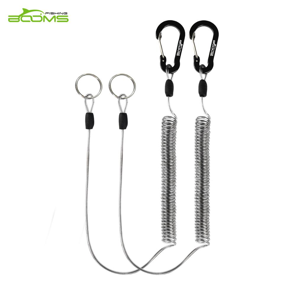 Booms Fishing T01 Coiled Lanyards For Fly Fishing Landing Net And Fishing Rod Retractable Coiled Tether Safety Lanyards